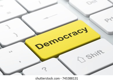Political concept: computer keyboard with word Democracy, selected focus on enter button background, 3D rendering