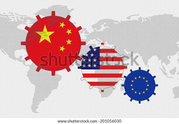 Political conflict of the world map background - gears with flags China, USA, European Union | Illustration