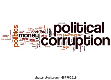 Political corruption word cloud concept