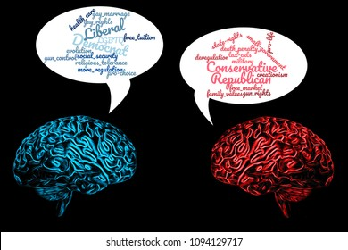 Political debate, democrat versus republican and partisan politics concept with two brains, blue vs red arguing about liberal and conservative issues with speech bubbles on black background