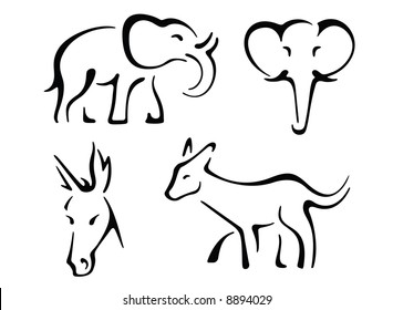 pencil drawing of donkey images stock photos vectors shutterstock How Do Donkeys Breed political design set