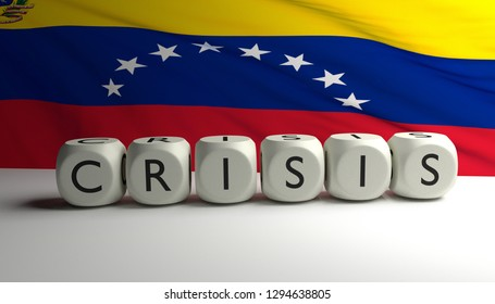 Political and economical crisis in Venezuela. 3D render illustration of word CRISIS written on dices with Venezuela flag waving in background.