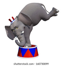 Political Elephant Balanced - A cute cartoon elephant wearing a red, white, and blue hat balancing on a red, white, and blue stool.  Isolated on a white background.