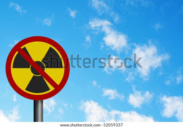 Political issues series: 'anti-nuclear' concept with EU lettering. Photo realistic sign, with space for your text overlay / editorial