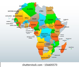 Political and location map of African continent countries, illustration