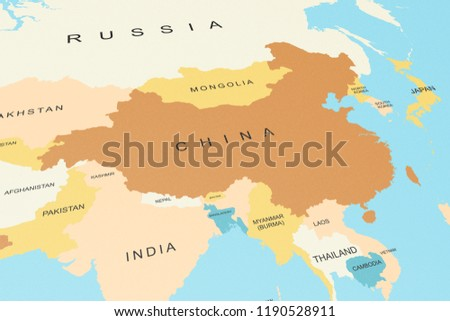 China On Map Of Asia.Political Map Asia China Focus Graphic Stock Illustration 1190528911