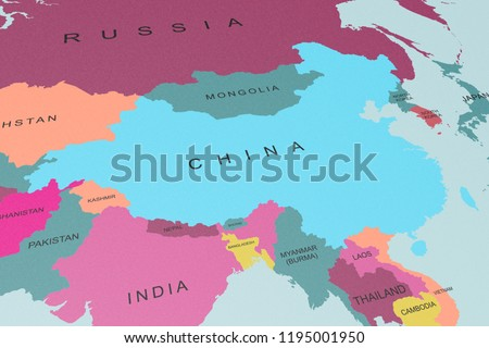 China On Map Of Asia.Political Map Asia China Focus Graphic Stock Illustration 1195001950