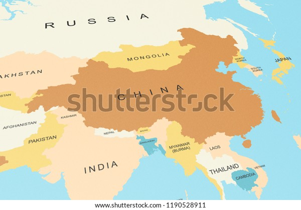 Map Of Asia And China.Political Map Asia China Focus Graphic Stock Illustration 1190528911