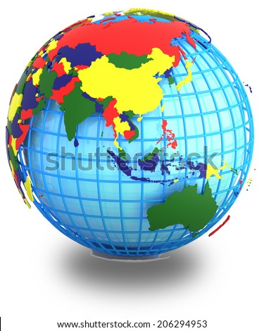 Political Map Asia Four Colours On Stock Illustration 206294953 ...