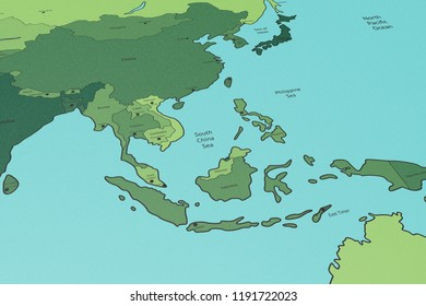 Political Map of Asia, Pacific Region, South China Sea, Graphic Illustration, Perspective View, Printed on Carton Paper, Blue Green