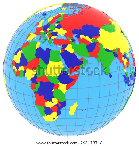 Political Map Eastern Hemisphere Countries Four Stock Illustration ...