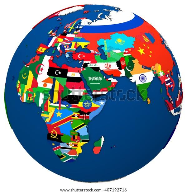 Political Map Europe Africa Middle East Stockillustration ...