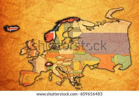 Political Map Of Europe With Countries.Political Map Europe Flags Member Countries Stock Illustration