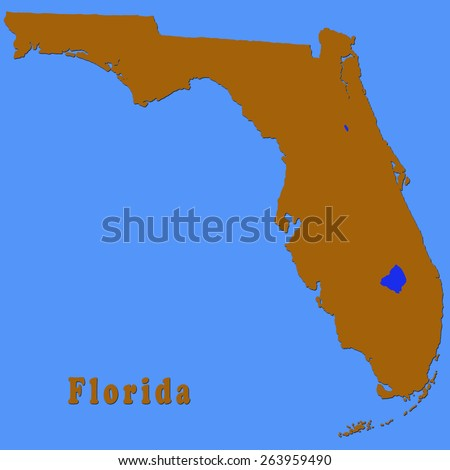Political Map Of Florida.Political Map Florida Showing Only Outline Stock Illustration