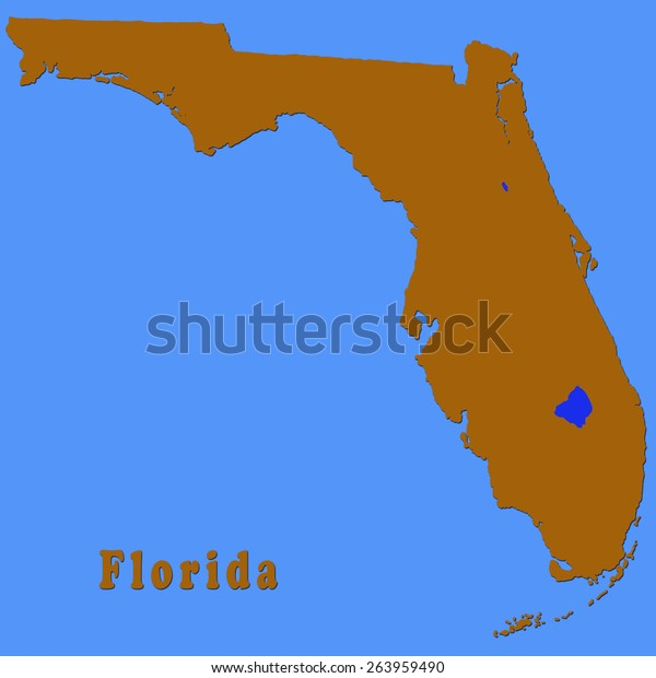 Map Of Florida Counties With Major Cities.Political Map Florida Showing Only Outline Stock Illustration 263959490