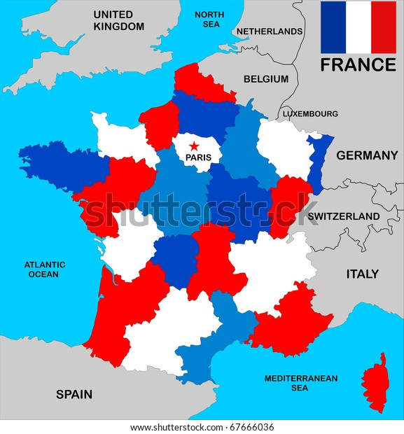 Map Of France With Neighbouring Countries.Political Map France Regions Different Colors Stock Illustration