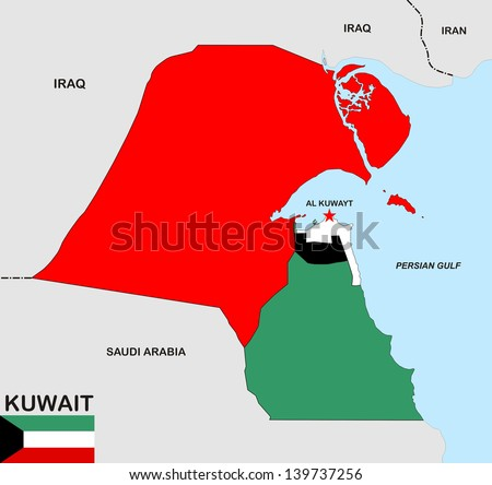 Kuwait Political Map.Royalty Free Stock Illustration Of Political Map Kuwait Country Flag