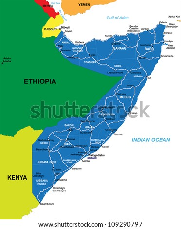 Political Map Somalia Stock Illustration Royalty Free Stock
