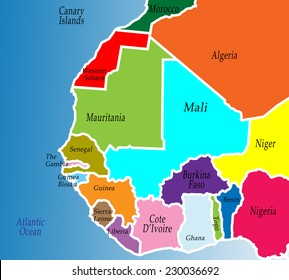 A political map of West Africa. Colorful, bright, simple.