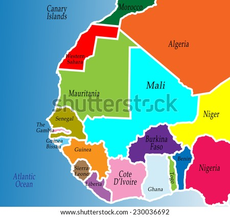 Political Map West Africa Colorful Bright Stock Illustration ...