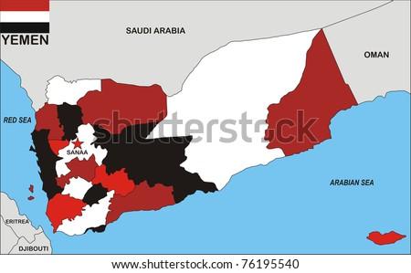 Political Map Of Yemen.Political Map Yemen Country Flag Illustration Stock Illustration