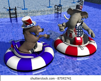 Political Party Sporting Event -Bumper Boats. Democrat Donkey and Republican Elephant facing off in bumper boats.