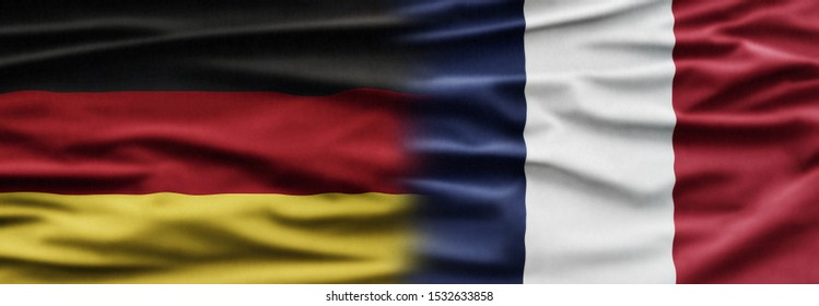 Political relationships. French Flag and German flag background with national colors. Partnership and conflicts. Europe.