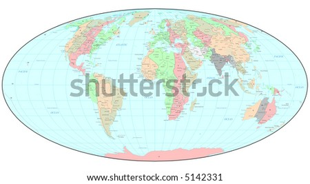 Political World Map Time Zones Stock Illustration 5142331 - Shutterstock