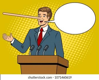 Politician with long nose lies man pop art retro raster illustration. Text bubble. Comic book style imitation.