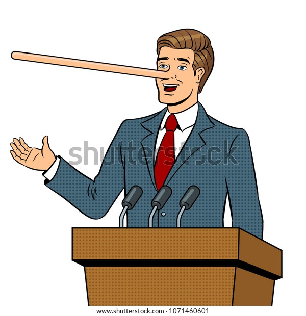Politician with long nose lies man pop art retro raster illustration. Isolated image on white background. Comic book style imitation.