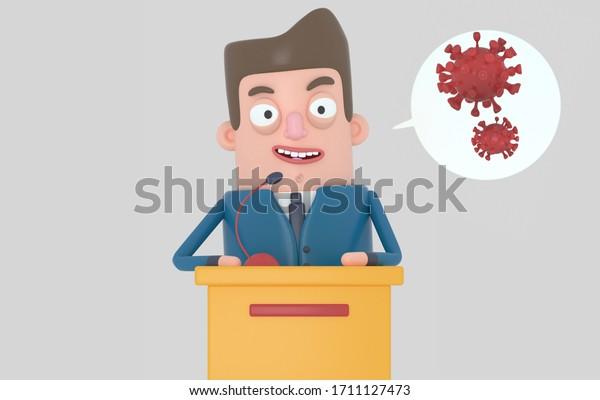 Politiker sprechen über ein Pandemieproblem. Viren. Covid19. Einzeln.3D-Abbildung.