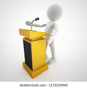 politician speech on wood lectern 3d illustration and high quality rendering