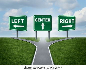 Politics concept and political views symbol with the rigfht left and centre wing or business choice as a 3D illustration.