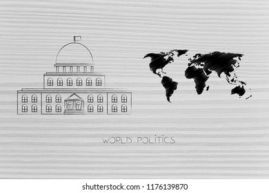 politics and daily life conceptual illustration: governement building with world map next to it