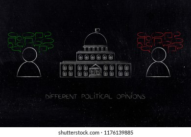 politics and daily life conceptual illustration: governement building with 2 people having opposed opinions next to it