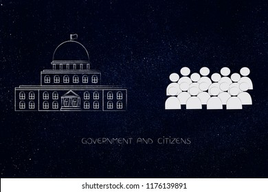 politics and daily life conceptual illustration: governement building with crowd of citizens next to it