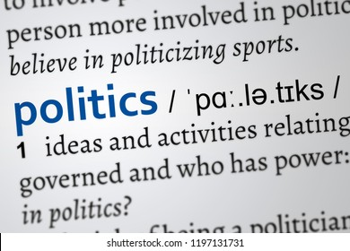 politics dictionary definition, focus on the word