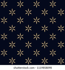 Polka dot floral motif. Simple geometric background. Vintage seamless ornament. Decorative prin block for textile, paper, fabric. Golden flowers on a indigo all over design. Look the same 1332282365.