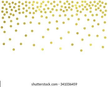 Polka dot gold confetti border. Christmas, wedding invitation, greeting card, scrapbook background.