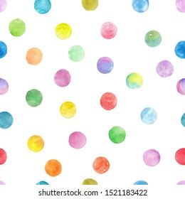 Polka Dot Pattern, Seamless Watercolor Background over white