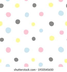 Polka dot pink yellow grey blue pattern
