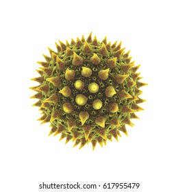 Pollen grain isolated on white , Pollen allergy is also known as allergic rhinitis or hay fever , 3d illustration