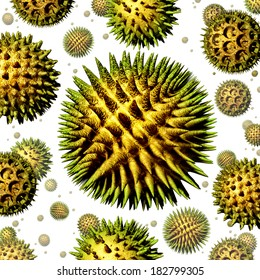 Pollen grains concept as a group of microscopic organic pollination particles of flowering plants flying in the air as a health care symbol of seasonal allergies and suffering from hay fever allergy.