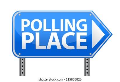 Polling place sign illustration design over white