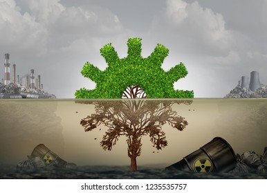 Pollution and business or industrial development risk concept as a machine part shaped tree cog  damaged by contaminated water with 3D illustration elements.