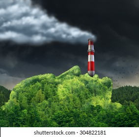 Pollution concept and environment destruction as a surreal environmental idea with a green mountain shaped as a human head with a smoke stack in the mouth releasing dangerous toxic smoke in the air.