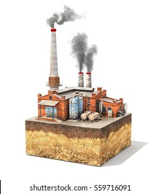 Pollution concept. Factory standing on cross section of ground isolated on white. Industry. 3d illustration