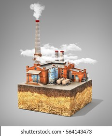 Pollution concept. Factory standing on cross section of ground. Industry. 3d illustration