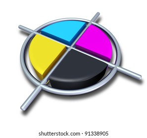 Poly graphic cmyk colors with chrome metallic cross as cyan magenta yellow and black symbol of four color printing and designer calibration of saturation and tonality of printed and digital content.