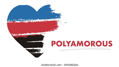 Polyamorous flag. LGBT Pride Month in June. Lesbian Gay Bisexual Transgender. Celebrated annual. Rainbow love concept. Human rights and tolerance. Brush strokes painted blot. Sexual identity. Heart